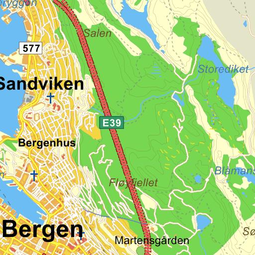 Fersk Bergen Fjellveien på Gule Siders kart WT-79